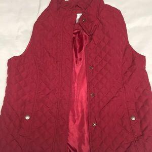 ChristopherBanks burgundy quilt vest petite large
